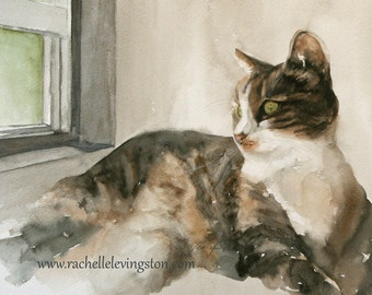 painting of cat painting cat print cat art print cat for her watercolor animal painting watercolor artwork tabby ATC SMALL Trading Card