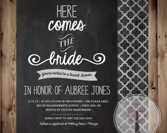 Printable Bridal Shower Invite/Bridal Shower INVITATION, chalkboard, chalk, 1064