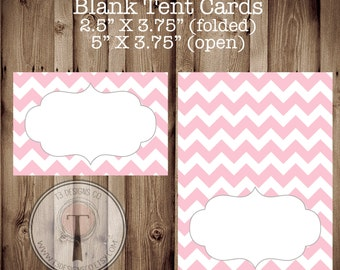 Pink Chevron Blank Tent Cards, folding tent cards, baby shower tent cards, bridal shower tent cards, food labels, food cards