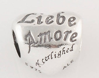 AMORE Heart .925 Sterling Silver European Charm Bead