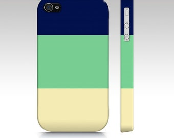 South Pacific- Navy Mint Colorblock - Iphone, Samsung Galaxy S3 & S4 Case -  tech, apple, iPhone 5, iPhone 4s, green, color block, cream