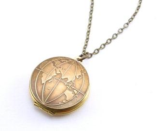 Graduation Gift-Old World Globe Locket, Vintage Locket Necklace, Globe Necklace, East, West or Double Sided you choose