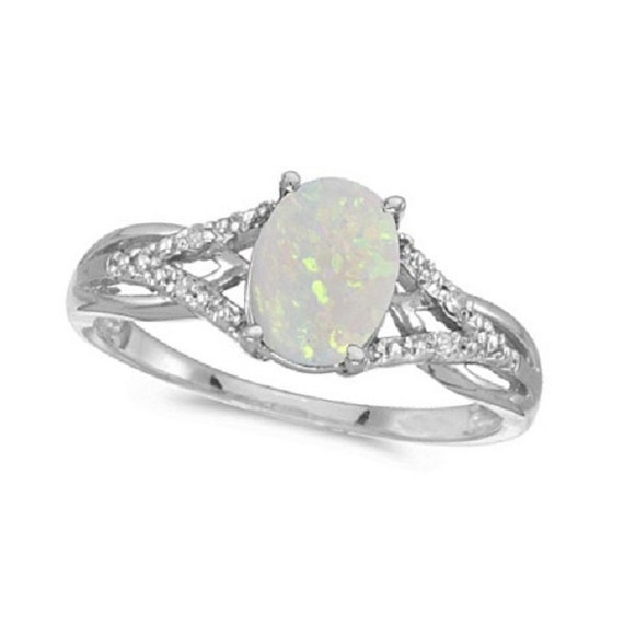 oval opal and cocktail ring 14k white gold by allurez