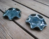 Ocean Blue Ceramic Dishes - Pair of Blue Dishes - Small Blue Pottery