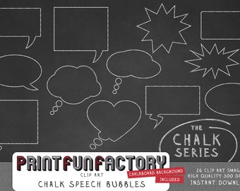 Chalk speech bubbles clip art INSTANT DOWNLOAD