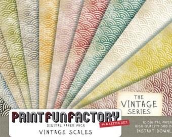 Scales digital paper - Vintage distressed background scrapbookpaper - 12 digital papers (#050) INSTANT DOWNLOAD