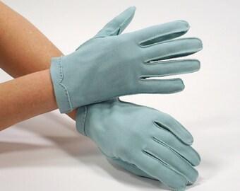 Vintage Ladies Blue Short Dress Gloves CRESCENDOE Light Blue Tailored Gloves - Size 6.5 - Mid Century