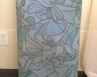 Original Abstract Blue Painting on Paper Framed on Stretcher Bars