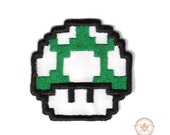 Super Mario Bros. Green Mushroom Inspired - Embroidered Iron-on Patch