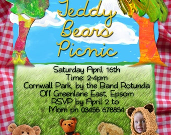 Teddy Bears Picnic Printable Invitation - with Photo