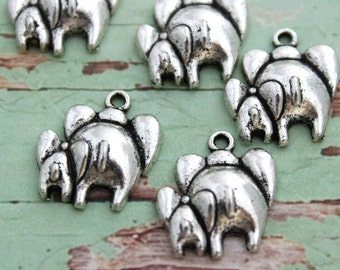 10pcs mom and baby Elephant Charms Antique Silver