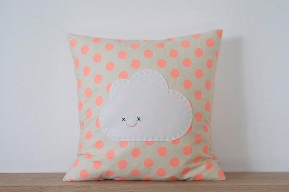 LIMITED EDITION - Peach Polka Dot Cloud Cushion - 100% Cotton & Wool