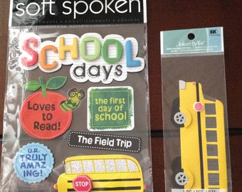 Soft Spoken & Jolee's Stickers SCHOOL DAYS  ~ scrapbooking stickers ~craft stickers