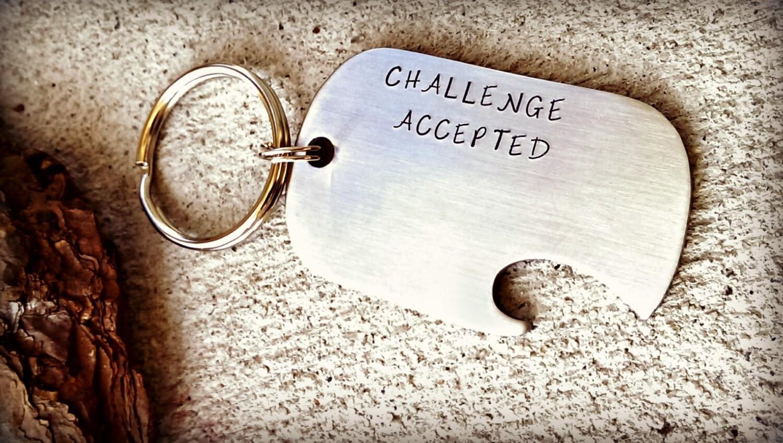 bottle opener challenge accepted gift for him groomsman. Black Bedroom Furniture Sets. Home Design Ideas