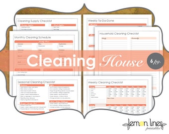 Cleaning House Printable Pack - INSTANT DOWNLOAD