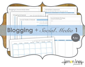 Blogging & Social Media Printable Pack 1 - INSTANT DOWNLOAD