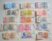Yugoslavian money lot of 15 pieces Yugoslavian inflation money Yugoslavian Dinar Vintage currency