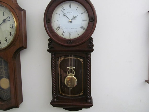 Vintage Seiko Wall Clock With Two Chimes And Pendulum By