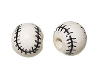 20pc 13mm Ceramic Baseball Sport Beads - Hand Painted DS18