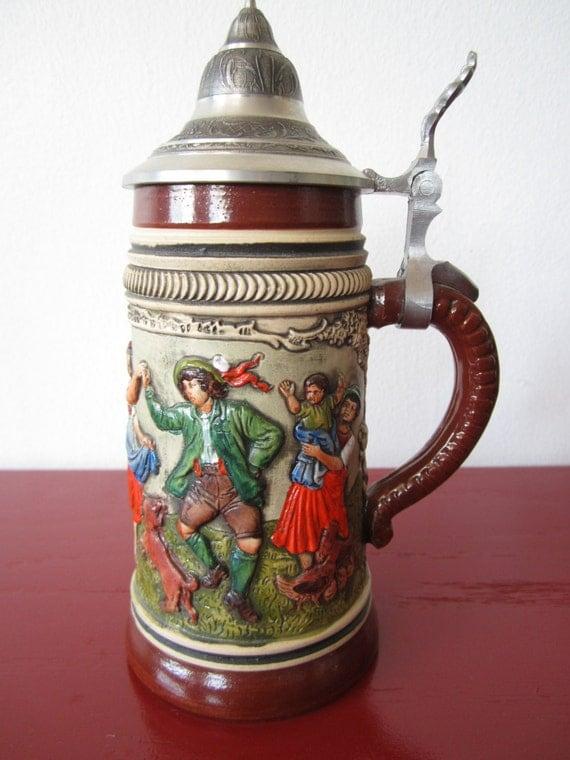 German Alt-Grenzau 1894 Original Thewalt Hand Painted Beer Stein