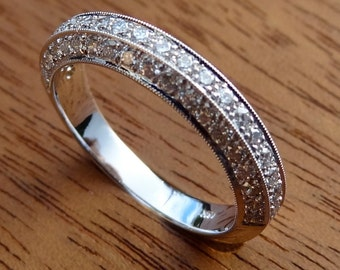 Platinum Pave Diamonds and Milgrain Ring in 2/3 cts tw. Vintage / Antique Style