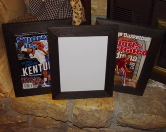Sports Illustrated magazine frame 8x10.5 solid rustic cedar current size magazine display dark finish