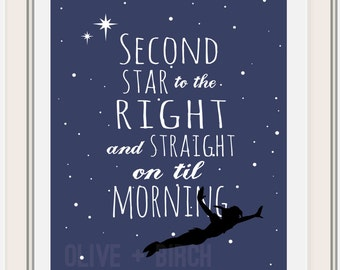 Peter Pan, Second Star to the Right, Version 2 Printable
