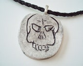 Ceramic gothic black skull necklace, handmade halloween jewelry, unisex primitive evil skull pendant with necklace