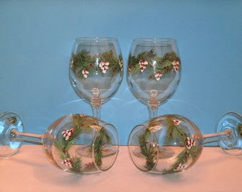 PINECONE WINE GLASSES set of four