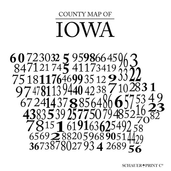 Iowa Numbered County Map