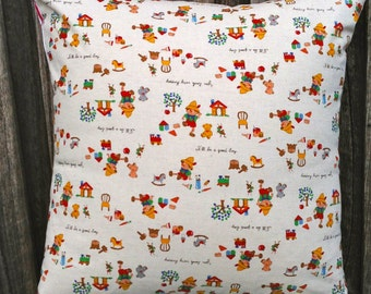 """Large Japanese Cushion Cover/Pillow in Design by Kokka, """"Pinocchio Fairy Tale"""" with a Red and White striped Cotton Linen Blend for the back."""