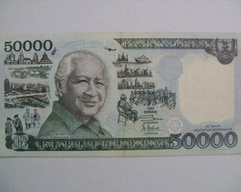 Indonesia 50000 Fifty Thousand Rupiah Paper Money Banknote with 1993 Direksi and Picture of Soeharto on Obverse