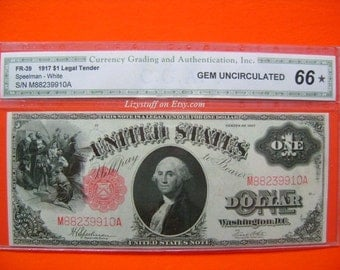 George Washington United States US 1917 Note One Dollar Bill Paper Money Old Currency Graded 66 Gem Uncirculated by CGA FR-39 Speelman White