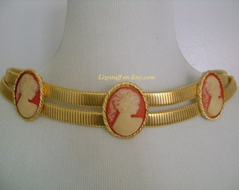 """Rare ACCESSOCRAFT NYC Beautiful High Shine Double Gold Tone Omega Chain With Lady Profile Cameo Stretch Belt 27"""" to 32"""" Sz S/M Weight 261.4g"""