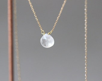 Natural Gemstone Necklace with Gold Plated Silver Chain (Rainbow moonstone)