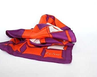 Vintage Echo Scarf - Geometric Print Scarf - Designer Scarf - Oblong Color Block Scarf - Purple Orange Scarf- Vintage Mod Scarf -1960s Scarf