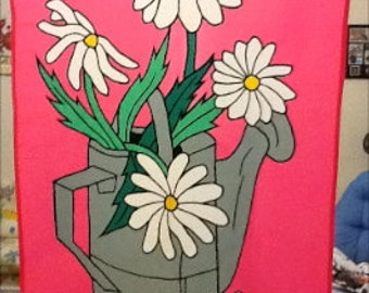 Can of Flowers Daisies / Gardening / Spring / Summer Large Decorative Flag