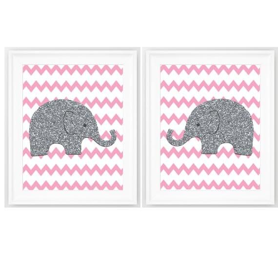 elephant nursery pink gray elephant prints by nauticaldecorshop. Black Bedroom Furniture Sets. Home Design Ideas