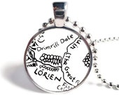 Lord of the Rings Pendant, Lorien and Drimrill Dale Pendant, Book Page Necklace, Lord of the Rings Jewelry, LOTR Necklace or Keychain
