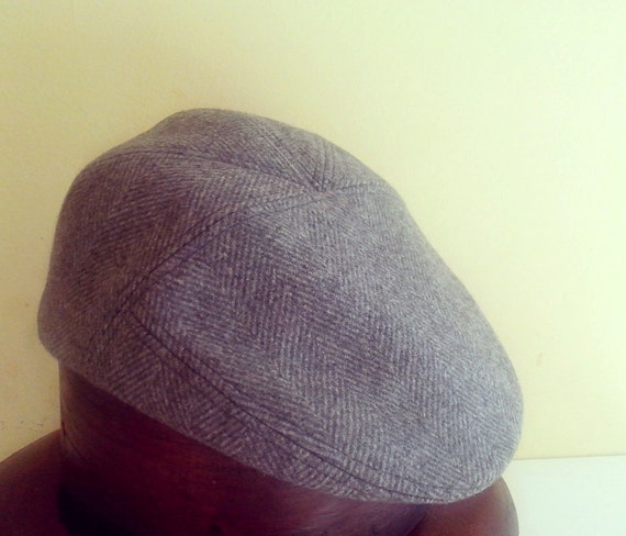 Mens autumn grey tweed flat cap hat / flat cap golf hat  winter cap