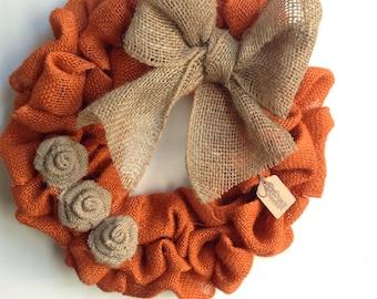 Fall Wreath, Autumn Wreath, Thanksgiving Wreath, Burlap Fall Wreath, Halloween Wreath, Orange Wreath, Orange Burlap Wreath, Halloween Wreath