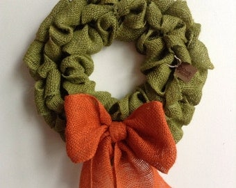 Burlap Fall Wreath, Pumpkin Wreath, Green Wreath, Fall Wreath, Autumn Wreath, Green burlap Wreath, Bubble Wreath
