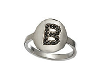 Black Diamond Initial Monogram Ring