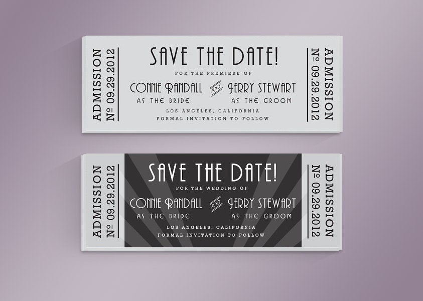 diy old hollywood movie ticket save the date card