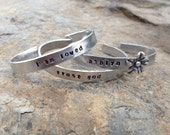 Little girl personalized hand stamped aluminum cuffs