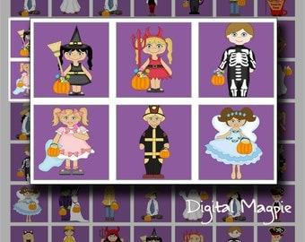 Halloween digital collage sheet 1 inch square inchies printable for jewelry making etc.