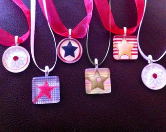 Star Glass Tile Pendant Necklace - FREE SHIPPING!