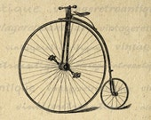 Antique Velocipede Bicycle Graphic Digital Download High Wheel Bicycle Image Printable Vintage Clip Art for Transfers etc HQ 300dpi No.4112