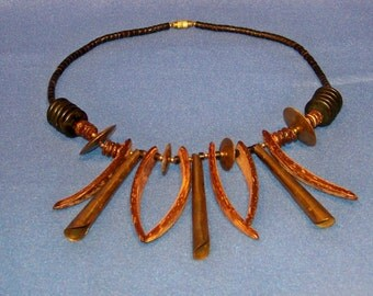 Vintage 1970's Wood Bone Tone With Brass Fittings Necklace