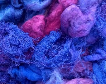 Pick and Mix, Hand Dyed Silk Fibre Selection, Colour No. 05 Purple, Silk Tops, Laps, Throwsters Waste, Cocoons, Carrier Rods, Hankies